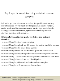teaching assistant resume sample top 8 special needs teaching assistant resume samples