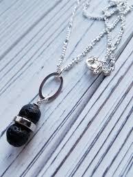 lava rock aromatherapy pendant necklace simple healing stone pendant necklace lava stone diffuser essential oil last minute gift idea