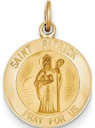 14k yellow gold saint patrick medal 15x23mm pendant charm image 1 of zoomed image