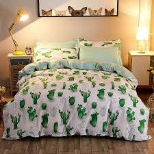 details about cactus green pattern bedding duvet cover set single double king size