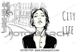 Young Girl On The Street Of Old City Vector Portrait Illustration In Sketch Style Clipart
