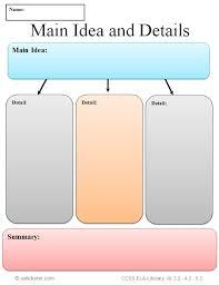 Common Core Graphic Organizer - Main Idea and Details   K-5 ...
