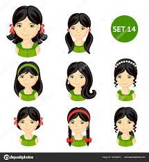 黒い髪と様々 な髪型でかわいい女の子 ストックベクター Arizona