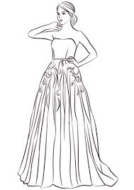 Cute Coloring Page Of A Dress Printable To Pretty Ball Gown Coloring