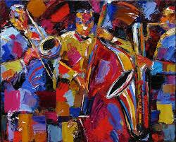 abstract jazz art painting saxophone trombone bass paintings by debra hurd by debra hurd