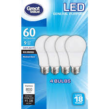 Great Value Cfl Light Bulbs 4 Pack Great Value 60w Replacement Bulbs 9w Non Dimmable Led A19 In Daylight White 5000k E26 Energy Star 18 Year Life 800 Lumens