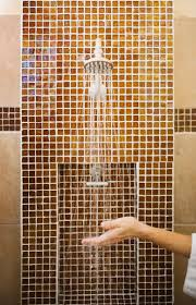 glass tiles are easy to clean in the shower
