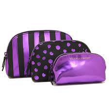 victoria s secret porch victorias secret 343831 3jw beauty bag trio makeup porch purple script