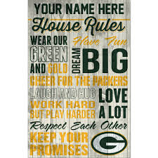 packers personalized house rules wood sign