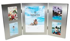 5 photo silver colour aluminium folding multi aperture picture frame gift present 085