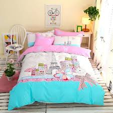 aqua pink and white tower print city scene french style cotton girls twin full size bedding