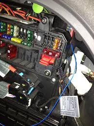 diy dvb t upgrade cheap option bimmerfest bmw forums pictures of rear fuse box the two extra fuses top right and the blue wire switching the power on and off to the new tuner