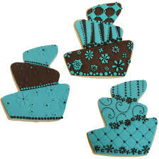 Turquoise and Brown Whimsy Cake Cookies