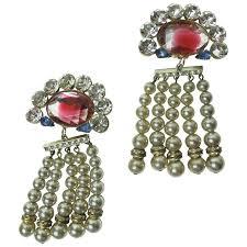 faux pearl chandelier earrings gorgeous oversized rhinestone and faux pearl chandelier earrings 1 chandeliers on