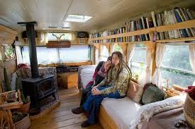 image of created tiny house bus conversion