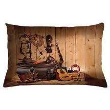 ambesonne western throw pillow cushion cover by american texas style country guitar cowboy boots