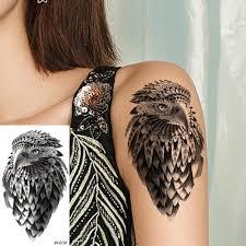 черный орел татуировки наклейки девушка для боди арта временная