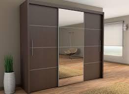 sliding three door wardrobe with center glass