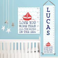 nautical growth chart canvas personalized growth chart boy growth chart nautical nursery decor gc3010s