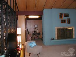 mid century living room retro fireplace