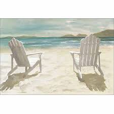 Adirondack chairs on beach Comfortable Beach Two Adirondack Chairs On Sandy Beach Coastal Painting Blue Tan Canvas Art By Pied Piper Creative Walmartcom Walmart Two Adirondack Chairs On Sandy Beach Coastal Painting Blue Tan