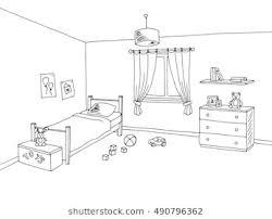 bedroom clipart black and white. Modren Bedroom Kid Room Graphic Interior Art Black White Sketch Illustration Vector To Bedroom Clipart Black And White W