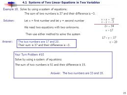 solution example 10 solve by using a system of equations the sum of