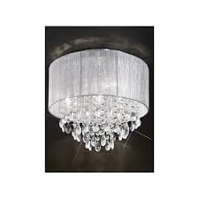 royale 4 light semi flush ceiling fitting with silver shade