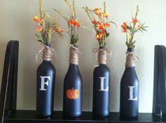 Wine bottles and chalk board paint, super easy Fall decoration!
