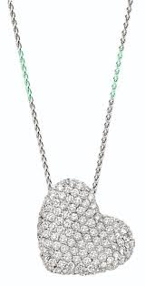 14k las white gold sideways hanging heart necklace set with 65 ct round diamonds