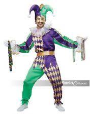Mardi Gras Renaissance Court Jester Clown Adult Halloween Costume M