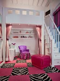 Bedroom, Awesome Space Small Girl Room Picture Idea With Fancy White Wooden  Loft Bed On