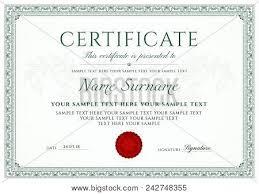 Certificate Template Vector Photo Free Trial Bigstock