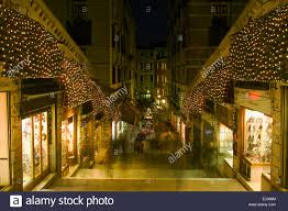 Christmas Lights In Venice Venice Italy Christmas Lights On The Rialto Bridge Stock