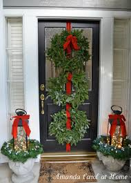 ... Ideas With White Wood Interesting Front Porch Christmas Decorations :  Awesome Front Porch Christmas With Round Green Christmas Wreath Including  ...