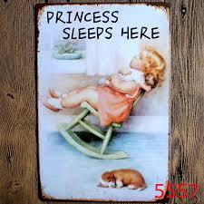 princess sleeps here tin poster wall decor bar home vintage metal sign craft gift art iron