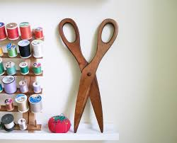 large vintage wooden scissors wall decor