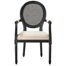 jacques antique black oval back dining arm chair