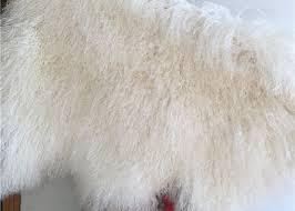 100 sheepskin natural long hair mongolian lambskin cream white curly fur rug
