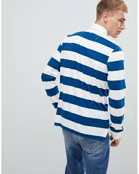 benetton blue striped rugby shirt in navy white for men lyst