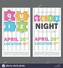 Quiz Night Thin Line Concept Vector Illustration Puzzle Colored