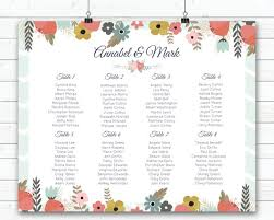 Printable Wedding Seating Plan Mint Green Peach Flowers