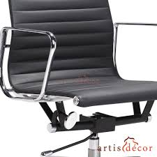 eames ribbed chair tan office. Eames Style Low Back Aluminum Ribbed Office Chair In Black Leather. Tan S