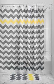this grey yellow white chevron zig zag stripe shower curtain adds fun and flair to the ever boring bathroom