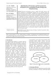 Design And Production For Sustainability Pdf Optimization Of Economic And Environmental Perspectives