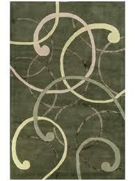 Modern Swirl Handmade Green Wool u0026 Silk Rug 19233 5x8