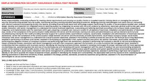 Information Security Assurance Consultant Resume & Cover Letter | Cv ...