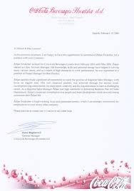 Zeljan F Recommendation Letter Coca Cola