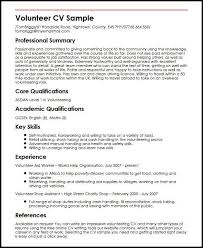 An Impressive Resumes Volunteer Cv Sample Myperfectcv
