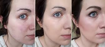left to right no makeup double wear foundation only with primer full makeup